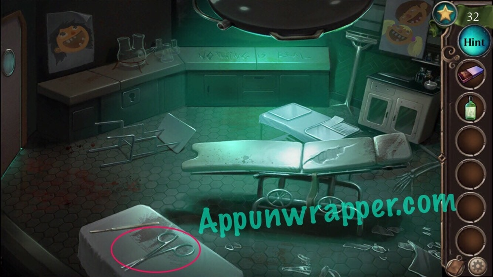 Adventure escape asylum murder mystery room doors and floors now go through the orange door pick up the three chemistry bottles and notice the clue on the wall and the clue on the floor then use he scissors to cut planetlyrics Image collections