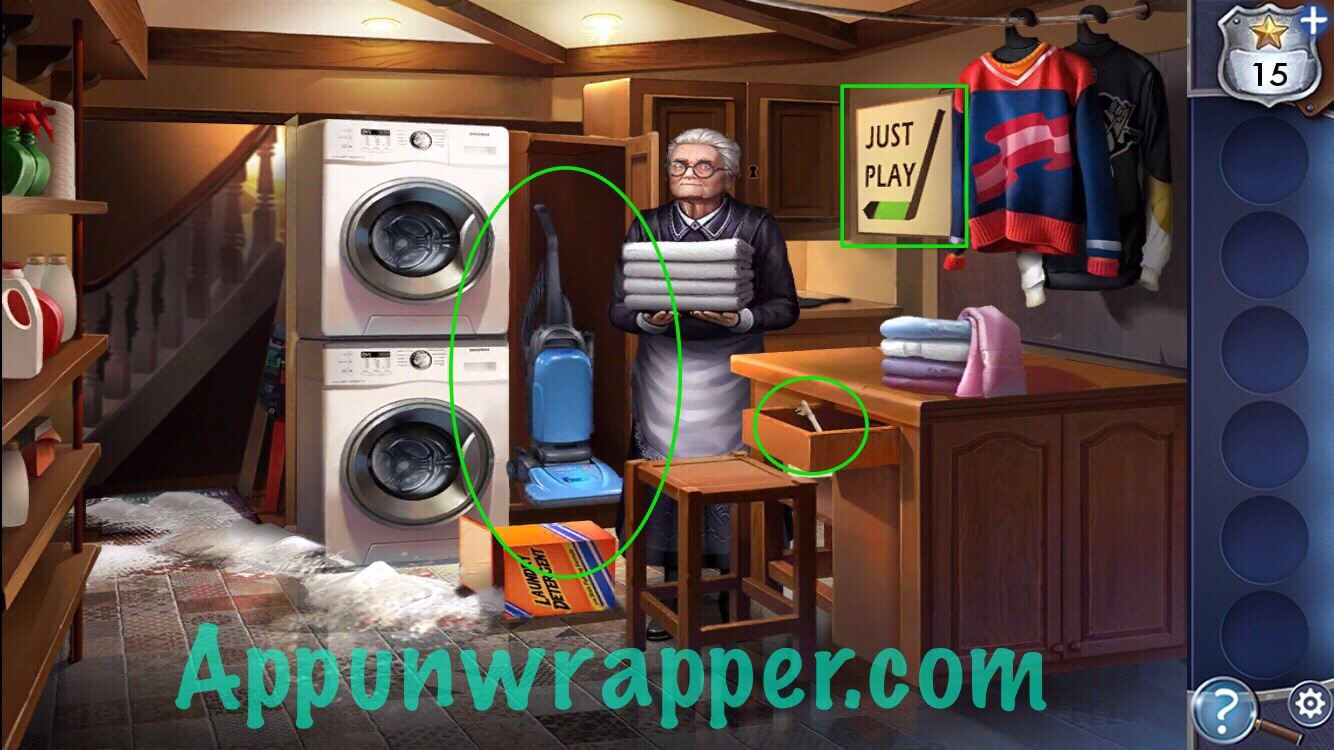 Adventure Escape Murder Inn Walkthrough Guide Chapter 2 Appunwrapper Next Into The Cabinet Use Vacuum Cleaner To Clean Up Spilled Laundry Detergent Key Open And Take Basket